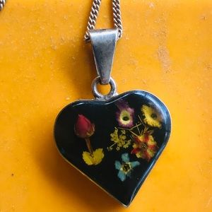 Sterling Italian Silver and Flowers Necklace